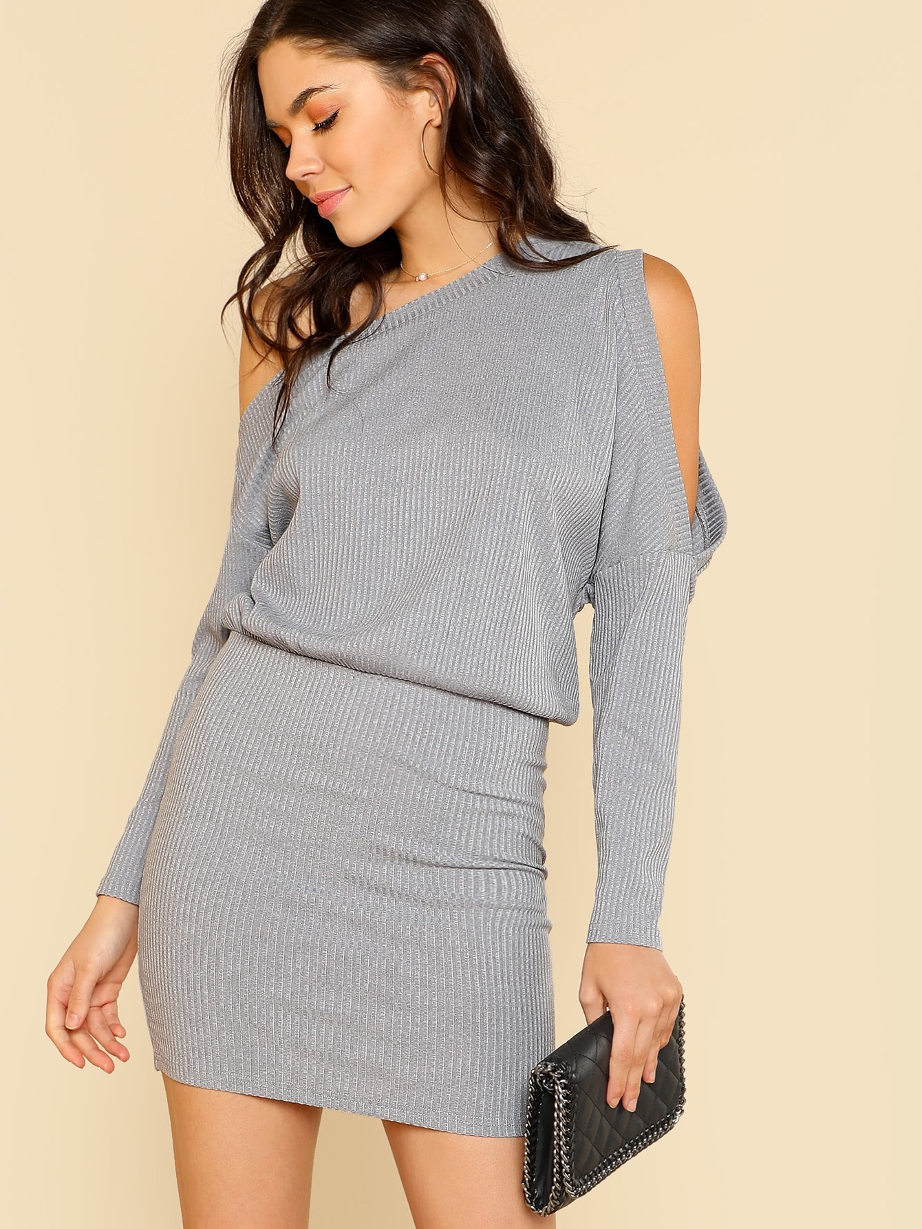 Asymmetric Cold Shoulder Rib Knit Blouson Dress rib knit off shoulder dress