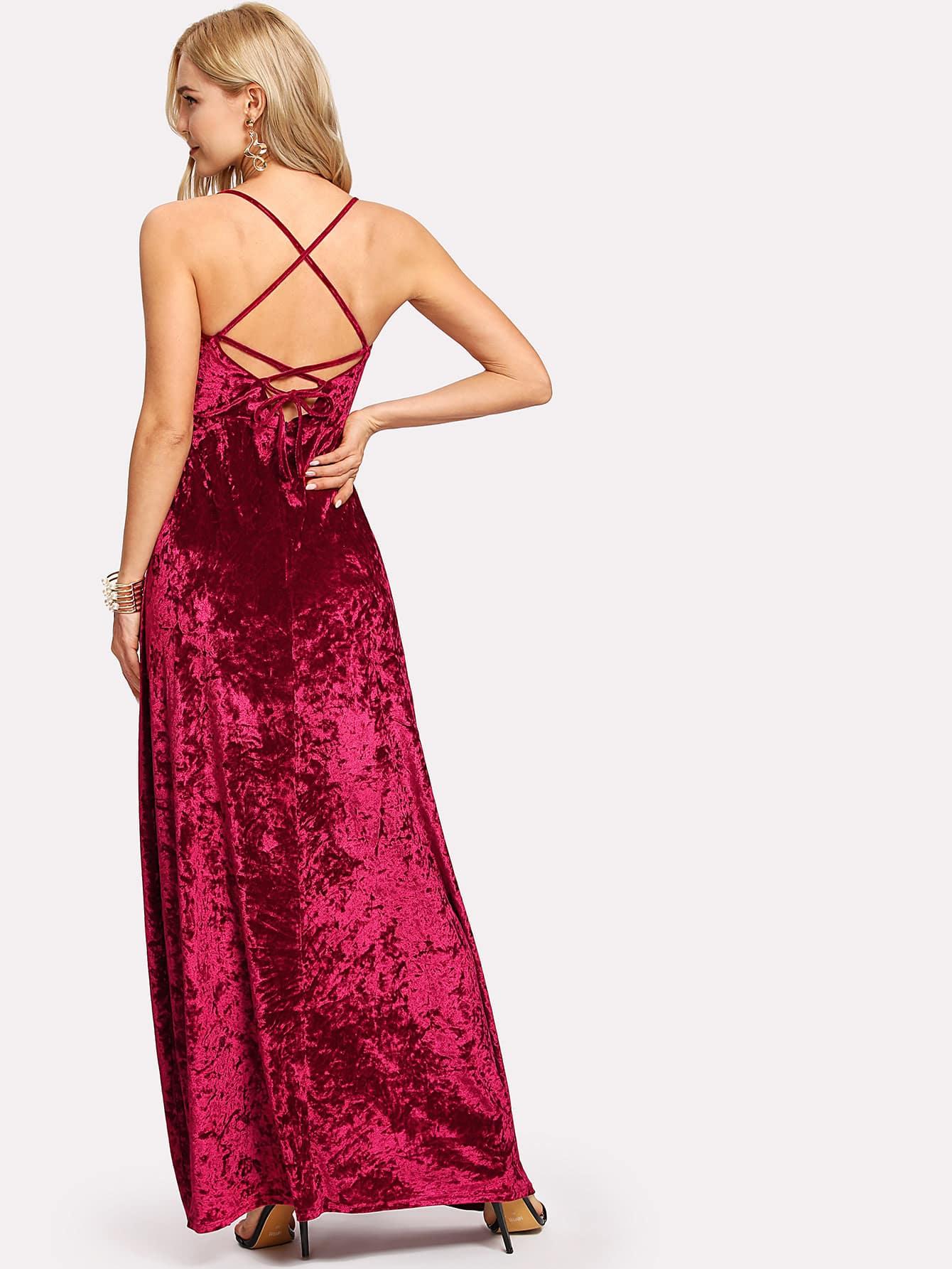 Lace Up Back Crushed Velvet Cami Dress zip up crushed velvet skirt