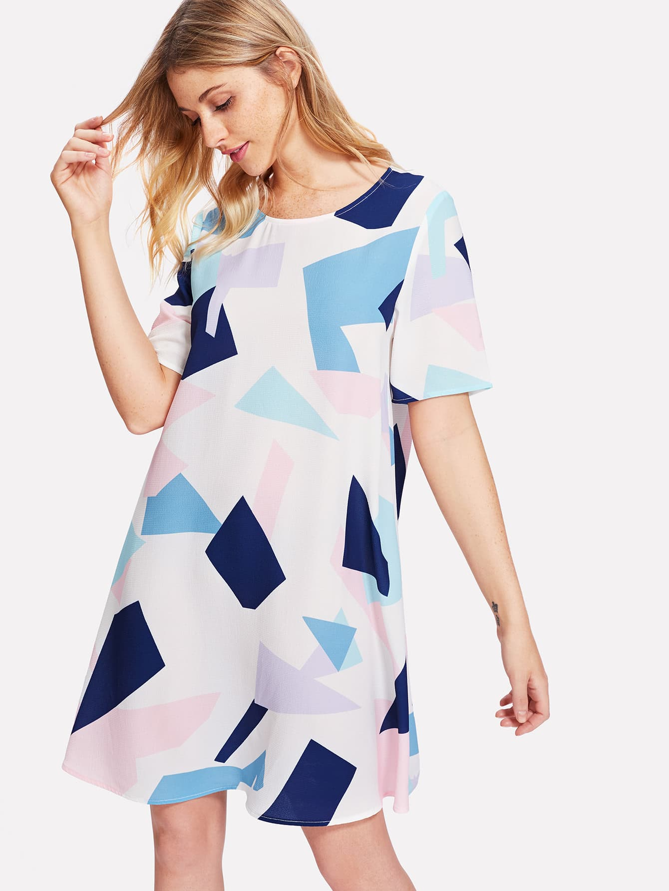 Allover Geometric Print Dress allover bear print dress