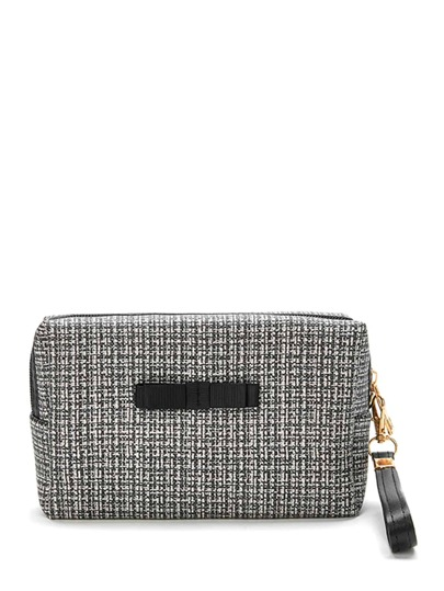 Tweed Zipper Makeup Bag With Wristlet