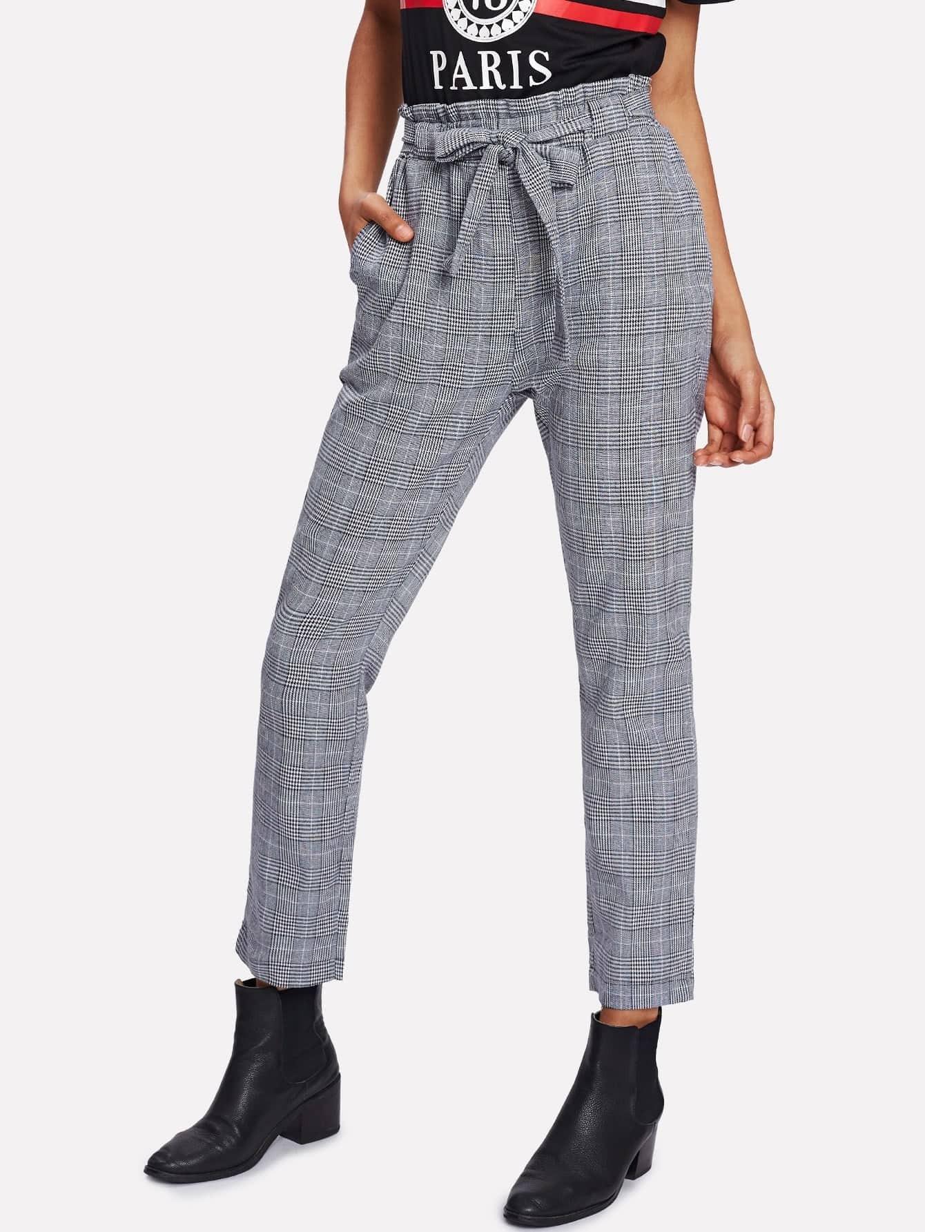 Frill Trim Plaid Pants frill trim plaid wrap skirt