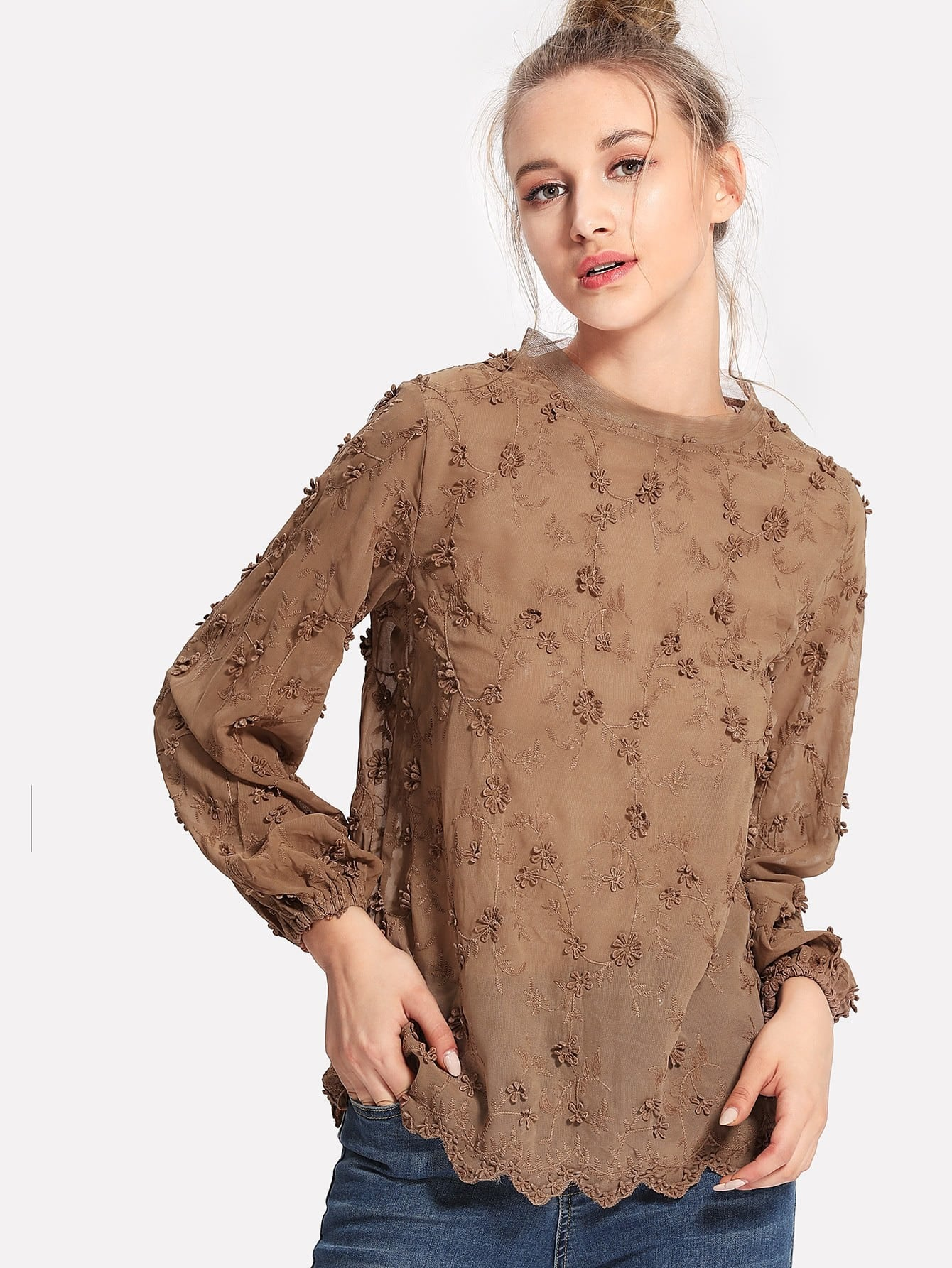 Flower Embroidery Applique Blouse embroidery applique knot back fitted