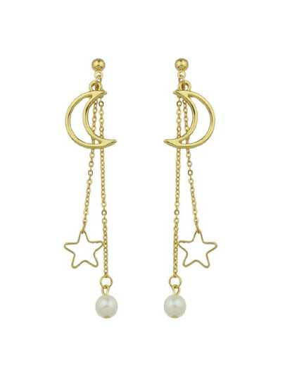 Gold Long Chain Hanging Earrings Moon Star Shape