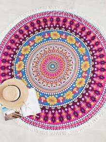 Fringe Trim Ornate Print Beach Roundie