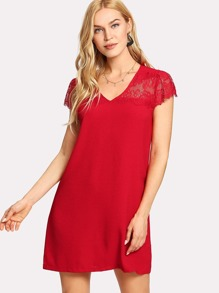 Lace Insert Tunic Dress