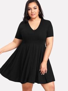 V Neckline Pleated Dress
