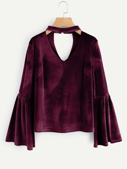 Choker Neck Trumpet Sleeve Velvet Top