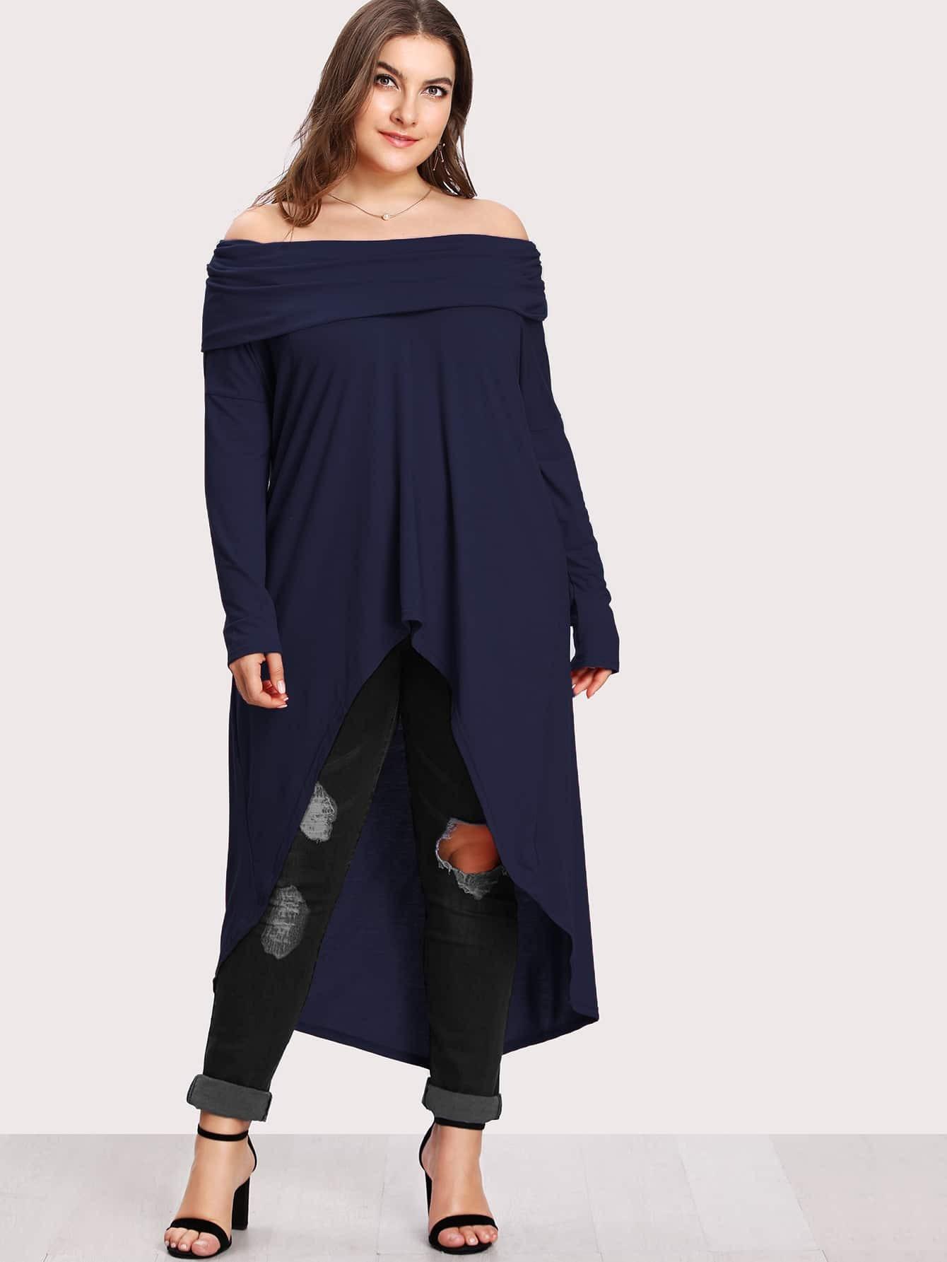 Fold Over Bardot High Low Tee