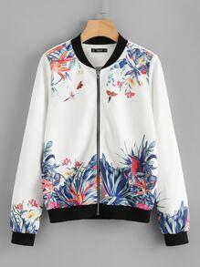 Botanical Print Zip Up Jacket