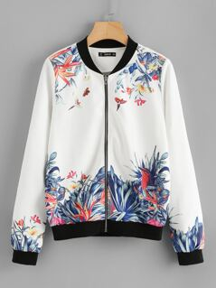 Botanical Print Zip Up Jacket