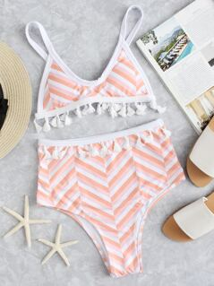 Fringe Trim Bow Tie Top With High Waist Bikini