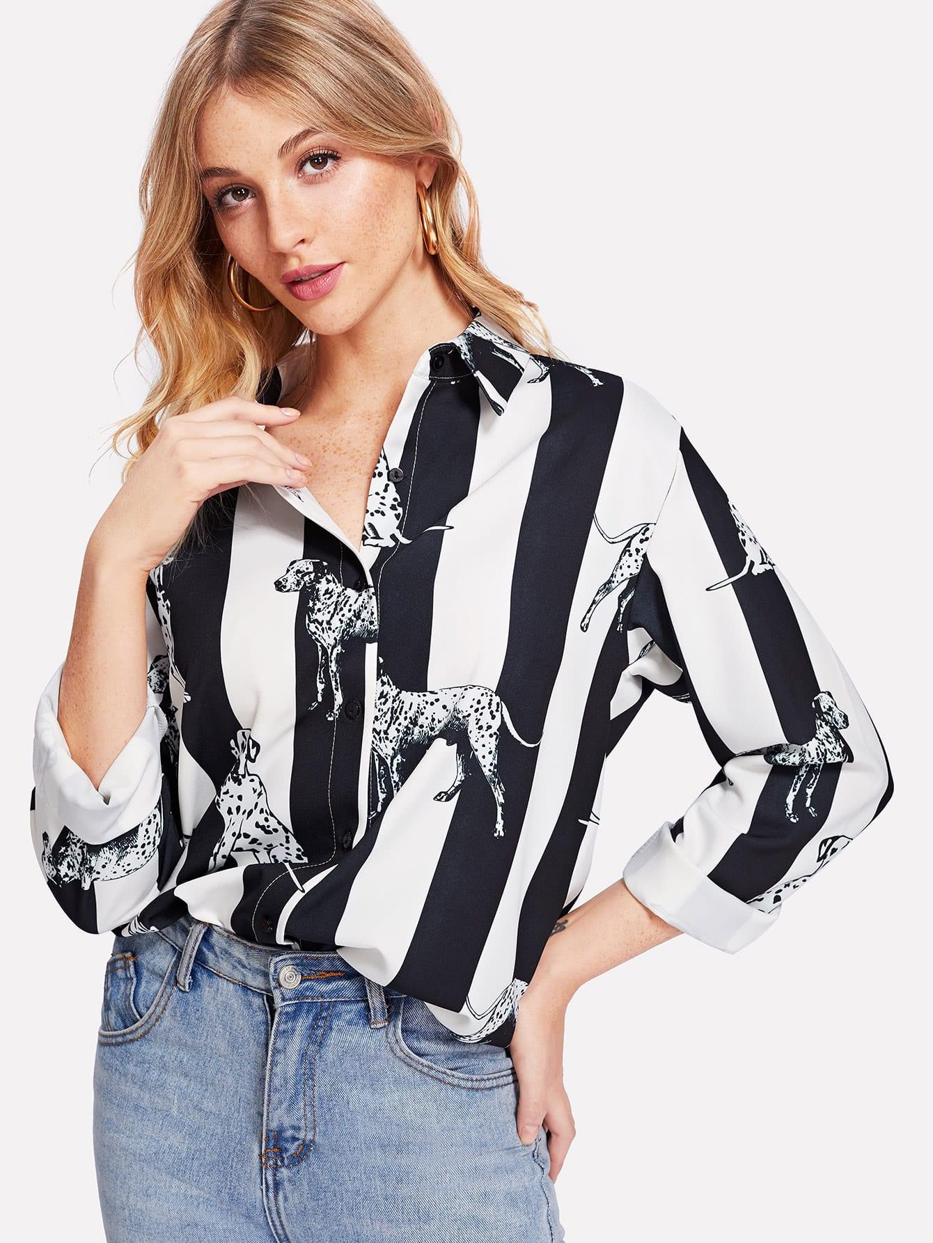 Contrast Striped Dog Print Curved Hem Shirt striped curved hem shirt dress