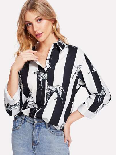 Contrast Striped Dog Print Curved Hem Shirt