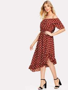 Asymmetric Ruffle Hem Polka Dot Bardot Dress