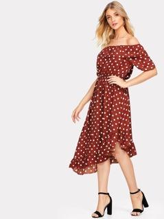 Asymmetric Ruffle Hem Polka Dot Bardot Dress