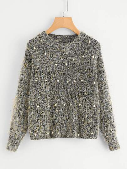 Pearl Beading Fuzzy Jumper