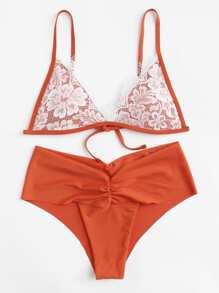 Lace Overlay Bikini Set