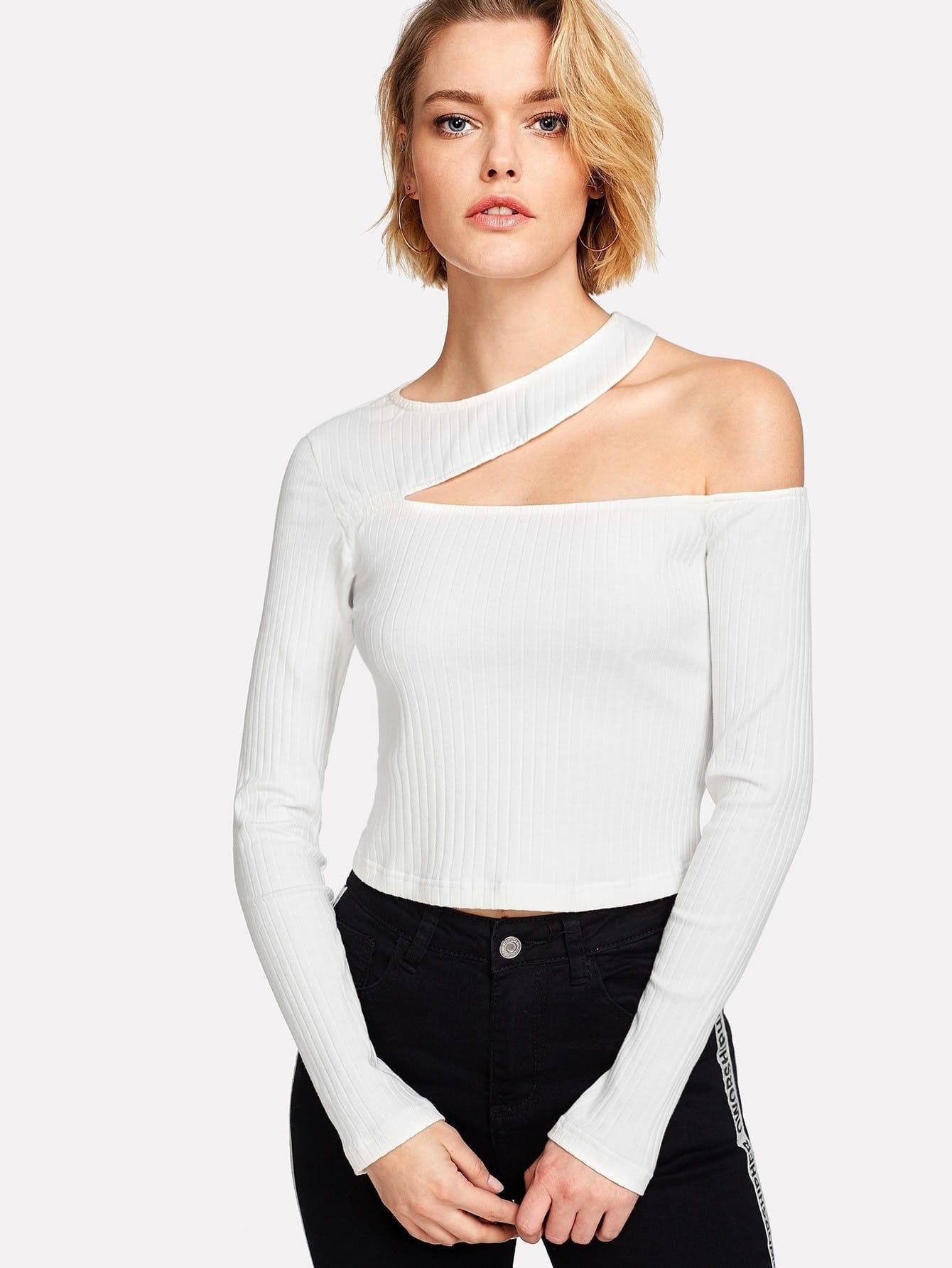 Asymmetric Cutout Rib Knit Tee cutout front rib knit t shirt