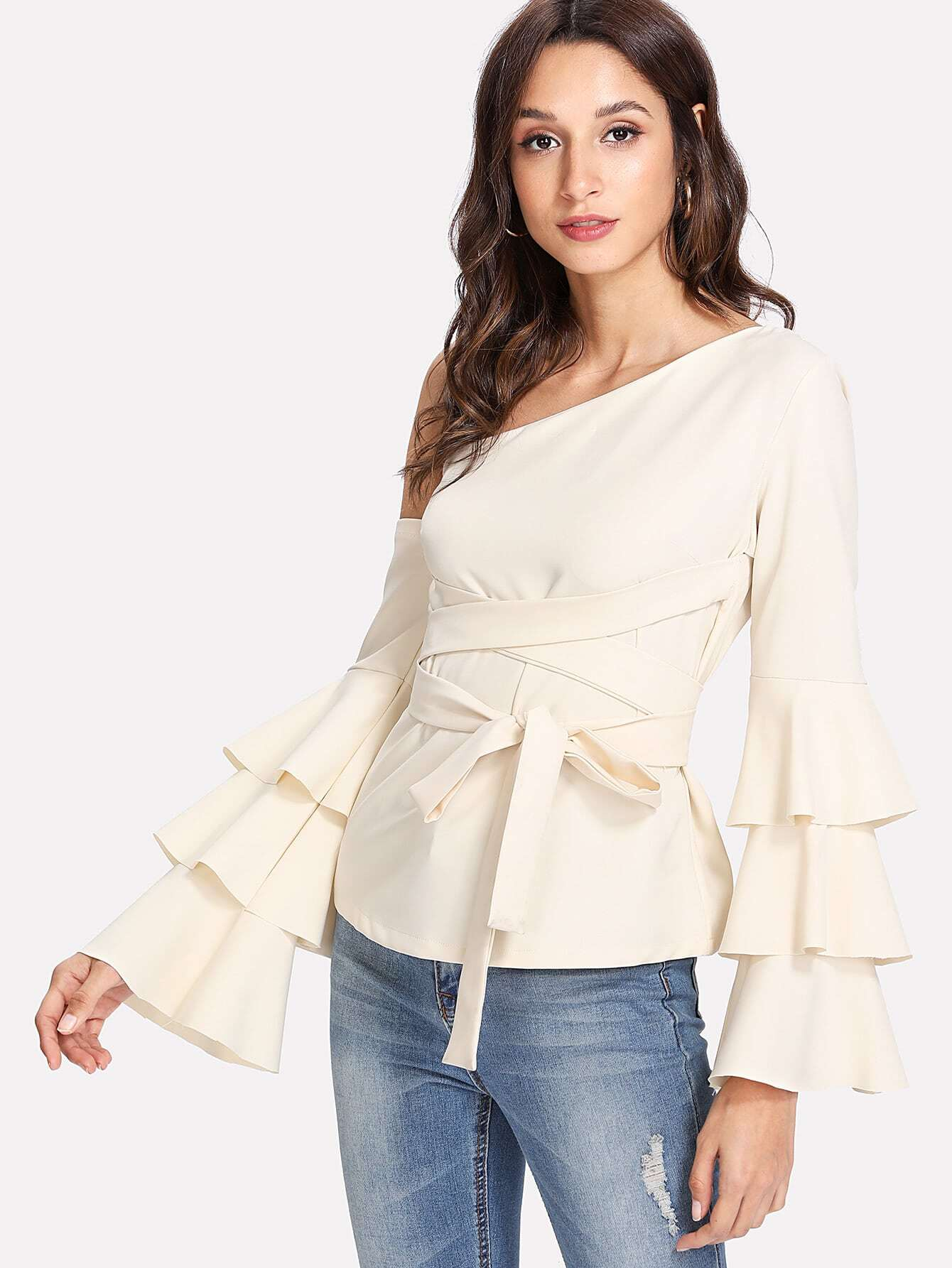 Oblique Shoulder Tiered Ruffle Sleeve Knot Top oblique shoulder layered frill ditsy top