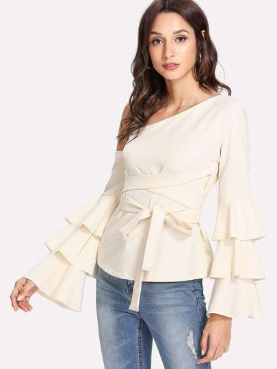 Oblique Shoulder Tiered Ruffle Sleeve Knot Top