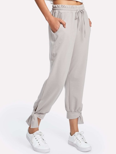 Knotted Detail Drawstring Pants