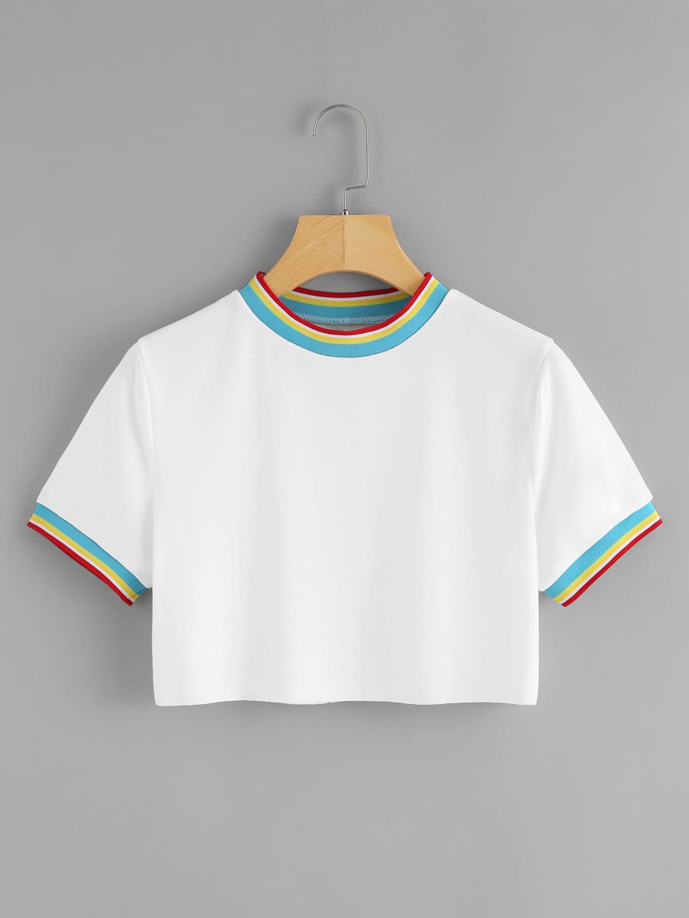Contrast Rainbow Stripe Trim Raw Hem Crop Tee