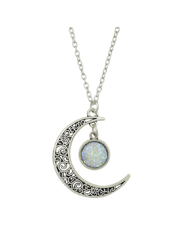 Silver Hollow Moon Full Of Stars Necklace moon stars style pendant necklace for women silver