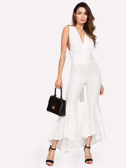 Cross Wrap High Low Flared Jumpsuit
