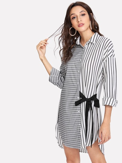 Tie Detail High Low Curved Hem Shirt Dress