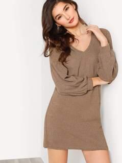 Rib Knit Lantern Sleeve Dress