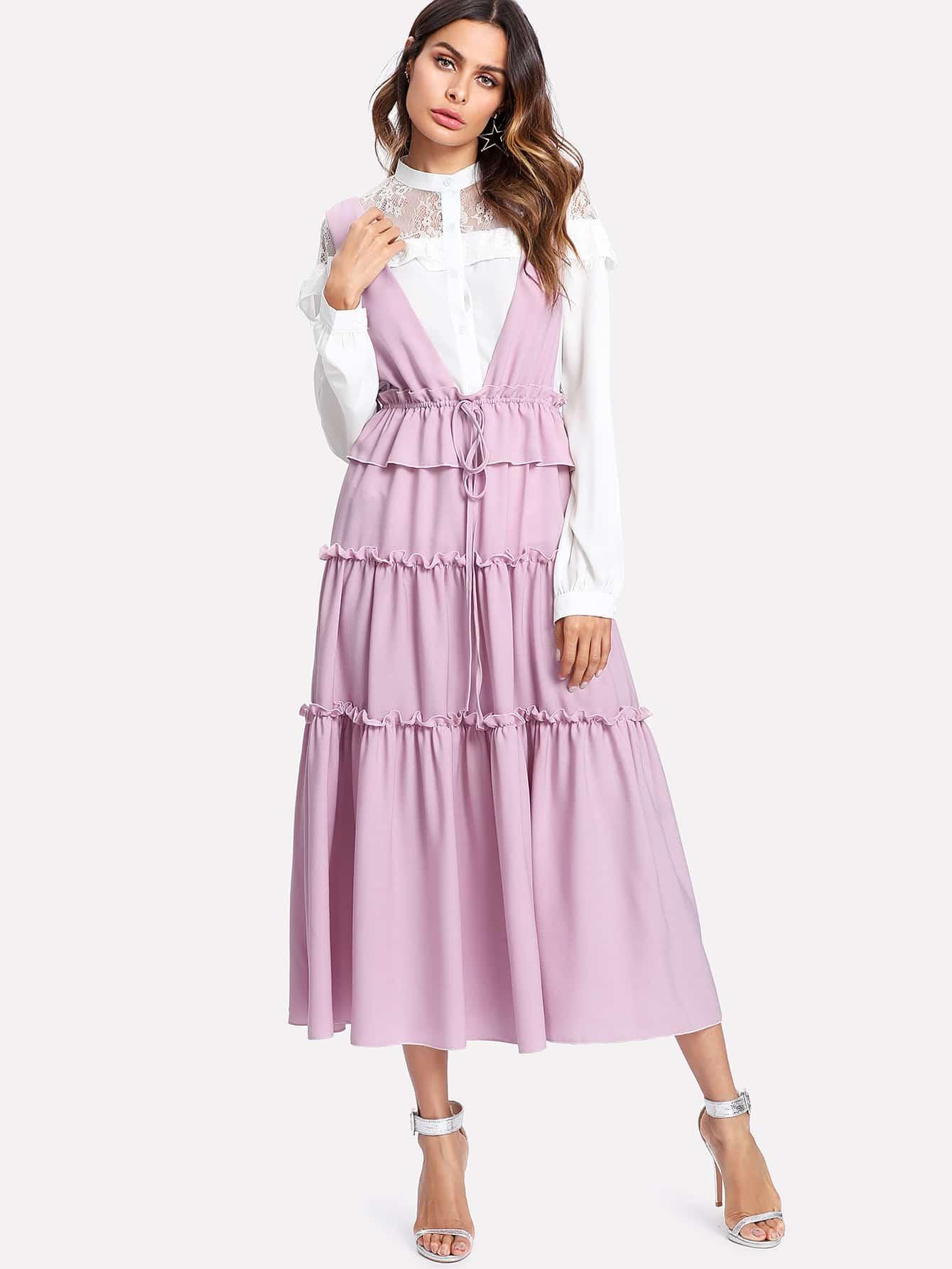 Frill Detail Tiered Drawstring Dress frill detail bishop sleeve tiered botanical dress