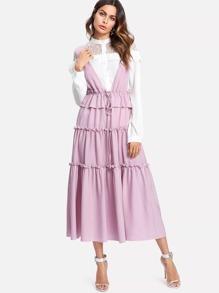 Frill Detail Tiered Drawstring Dress