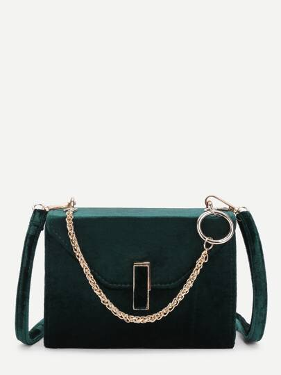 Velvet Crossbody Bag With Chain Handle