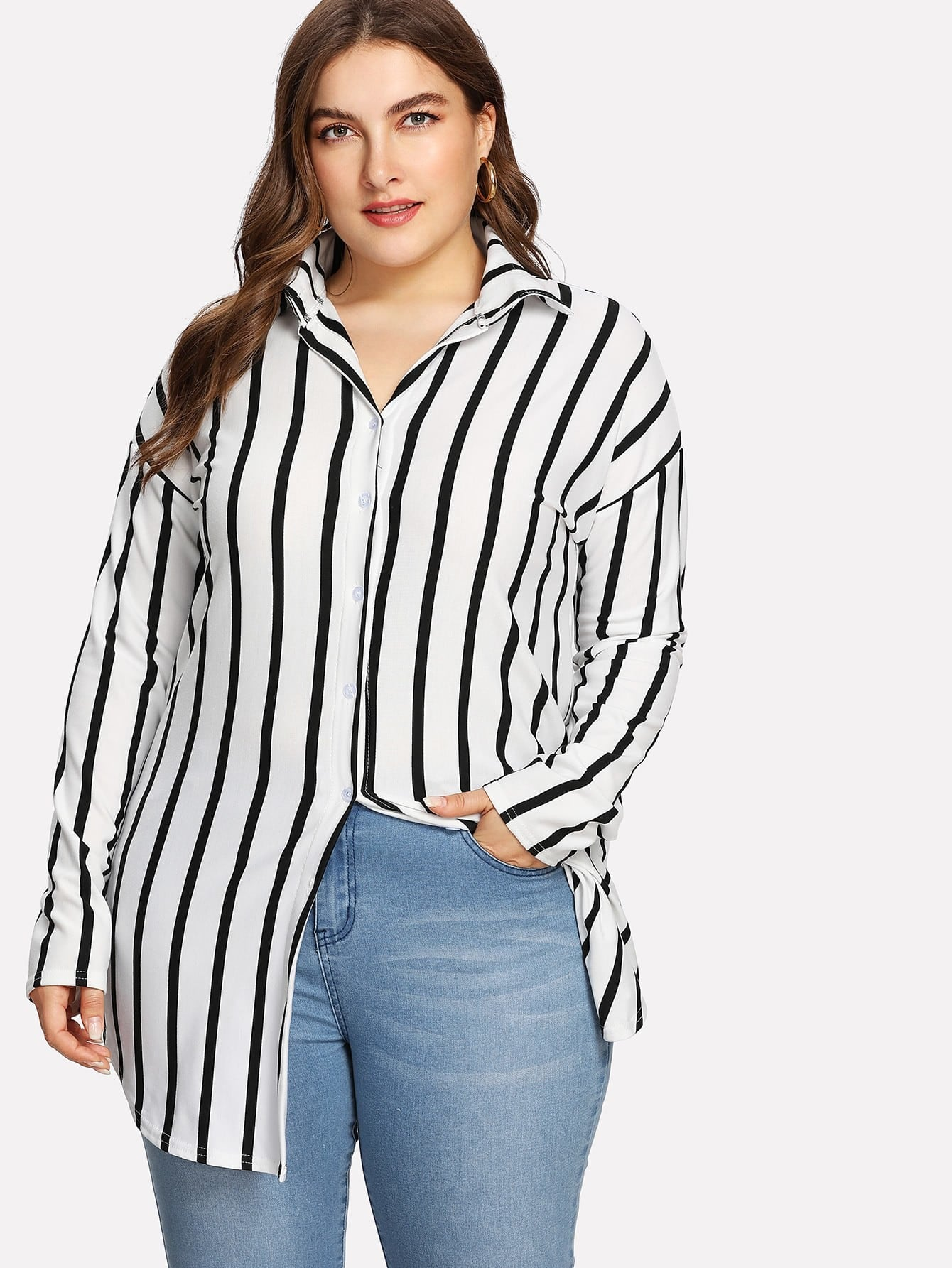 Drop Shoulder Striped Dolphin Hem Shirt