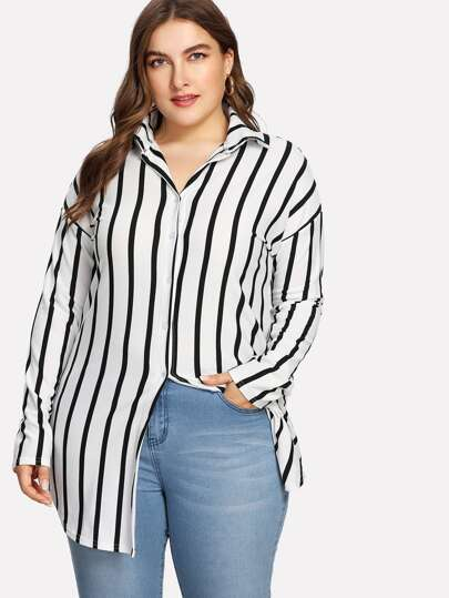 Drop Shoulder Striped Dolphin Hem Shirt