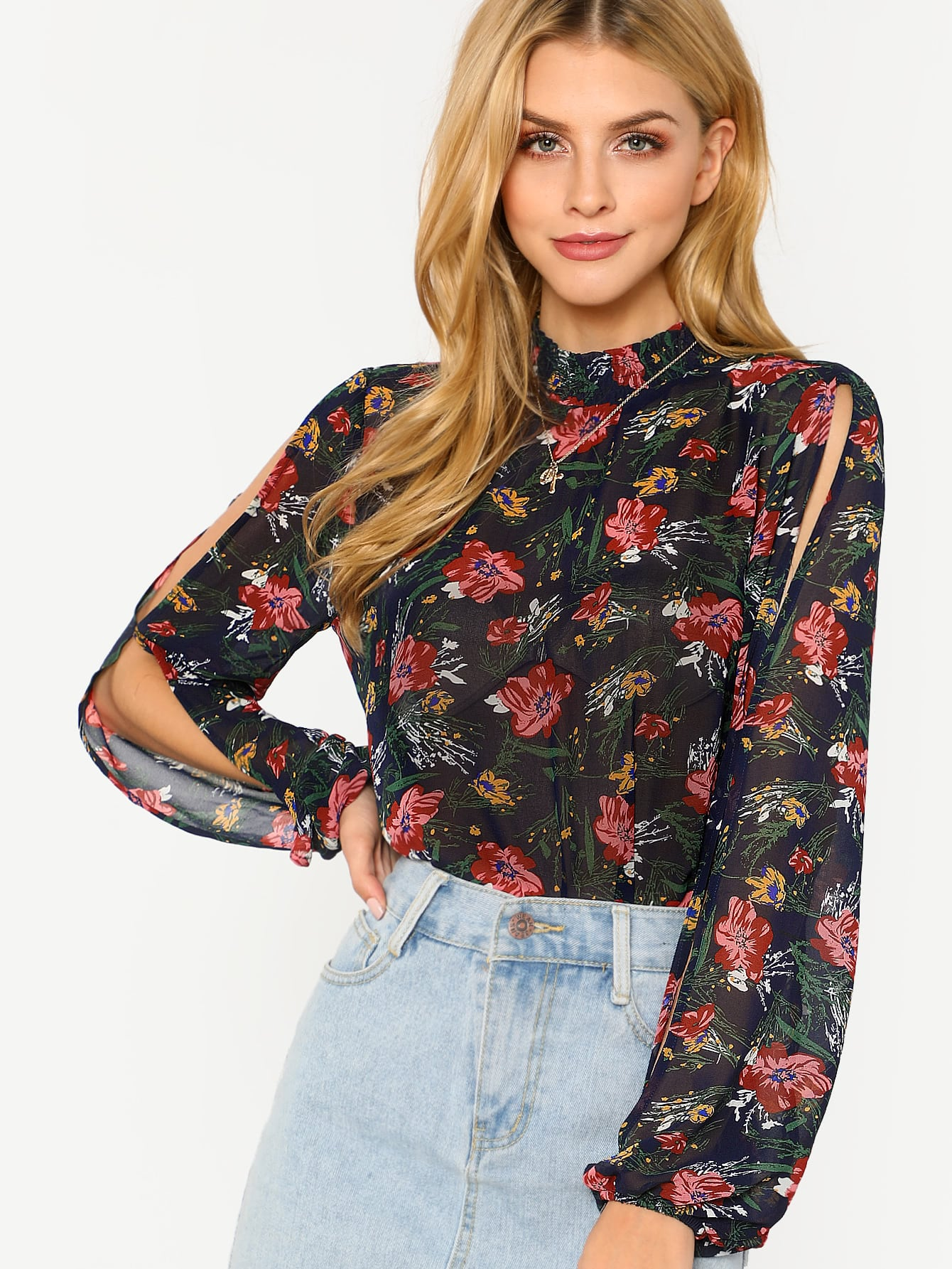 Frill Collar Split Sleeve Floral Blouse band collar floral blouse