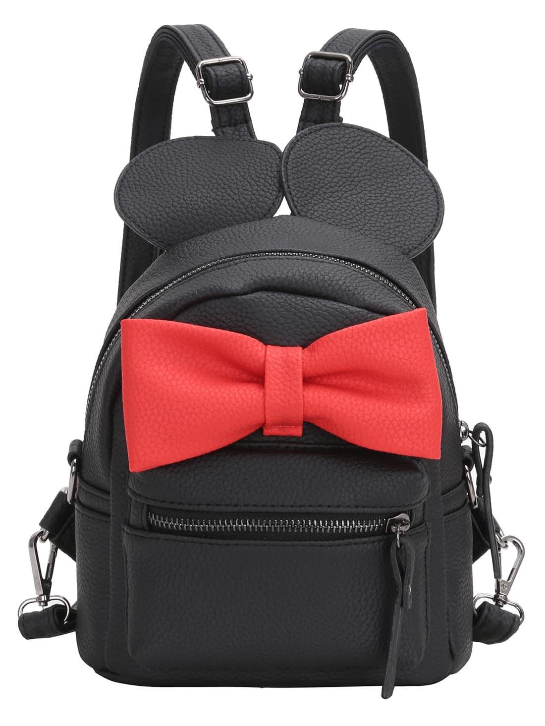 Купить Чёрный рюкзак с красным бантом, null, SheIn