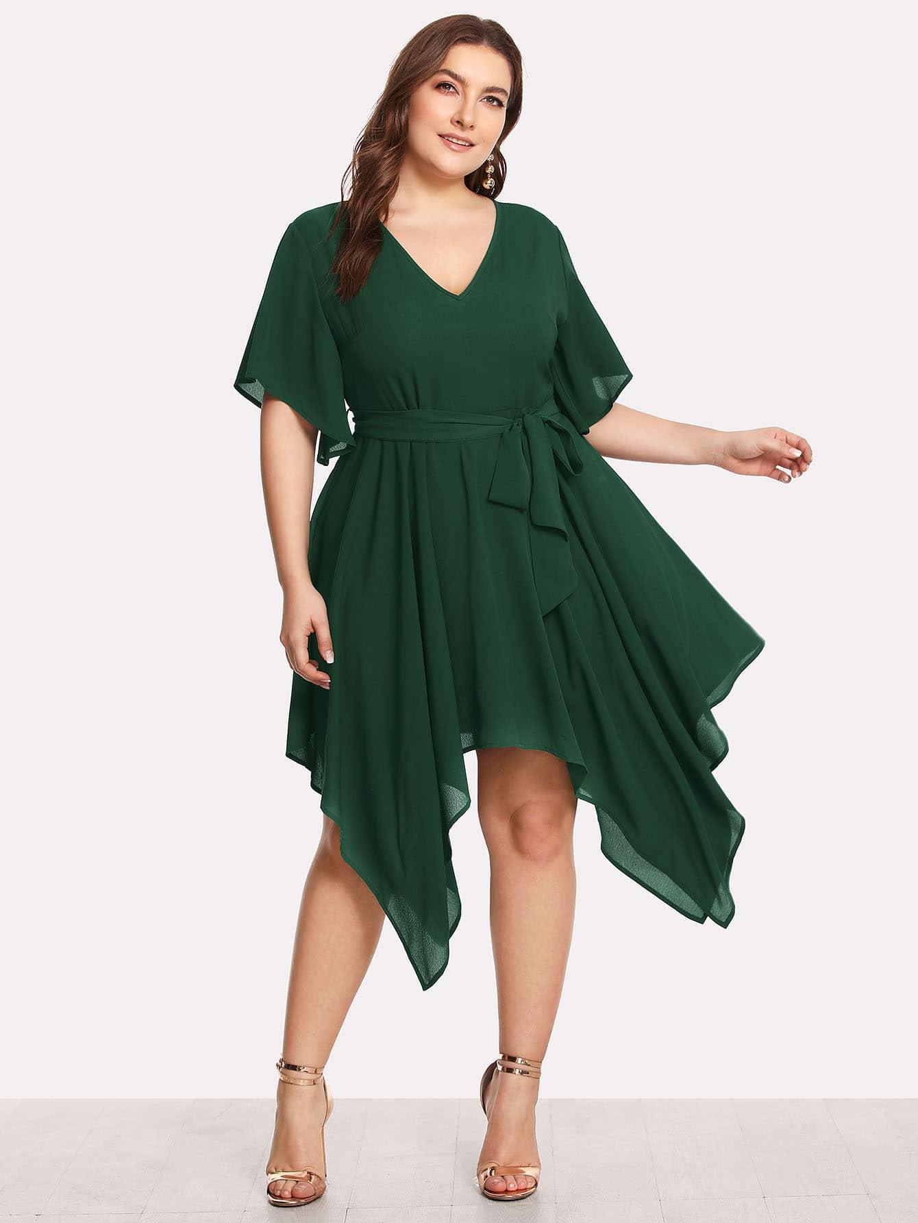 Self Belted Hanky Hem Dress high slit hanky hem metallic halter dress