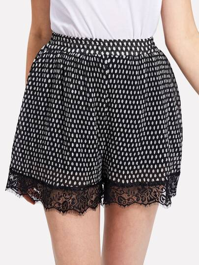 Contrast Eyelash Lace Spot Shorts