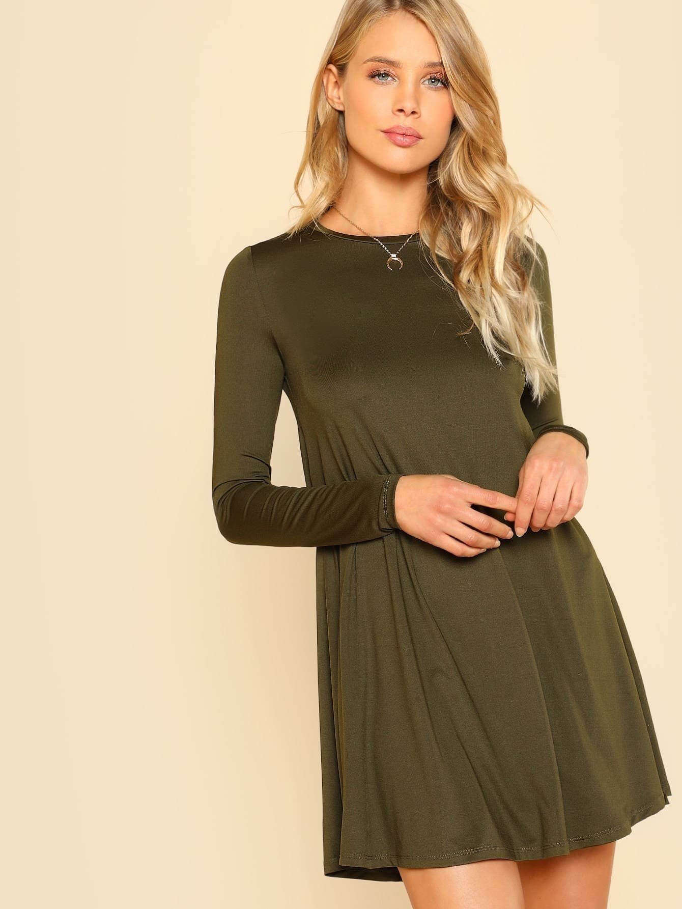 Long Sleeve Solid Swing Dress long sleeve solid swing dress