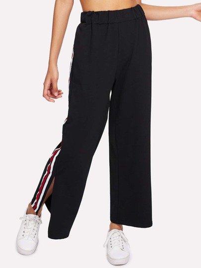Striped Tape Detail Split Side Wide Pants