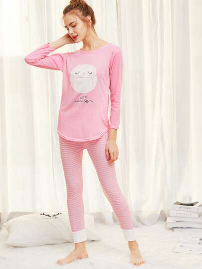 Owl Print Top & Striped Pants PJ Set