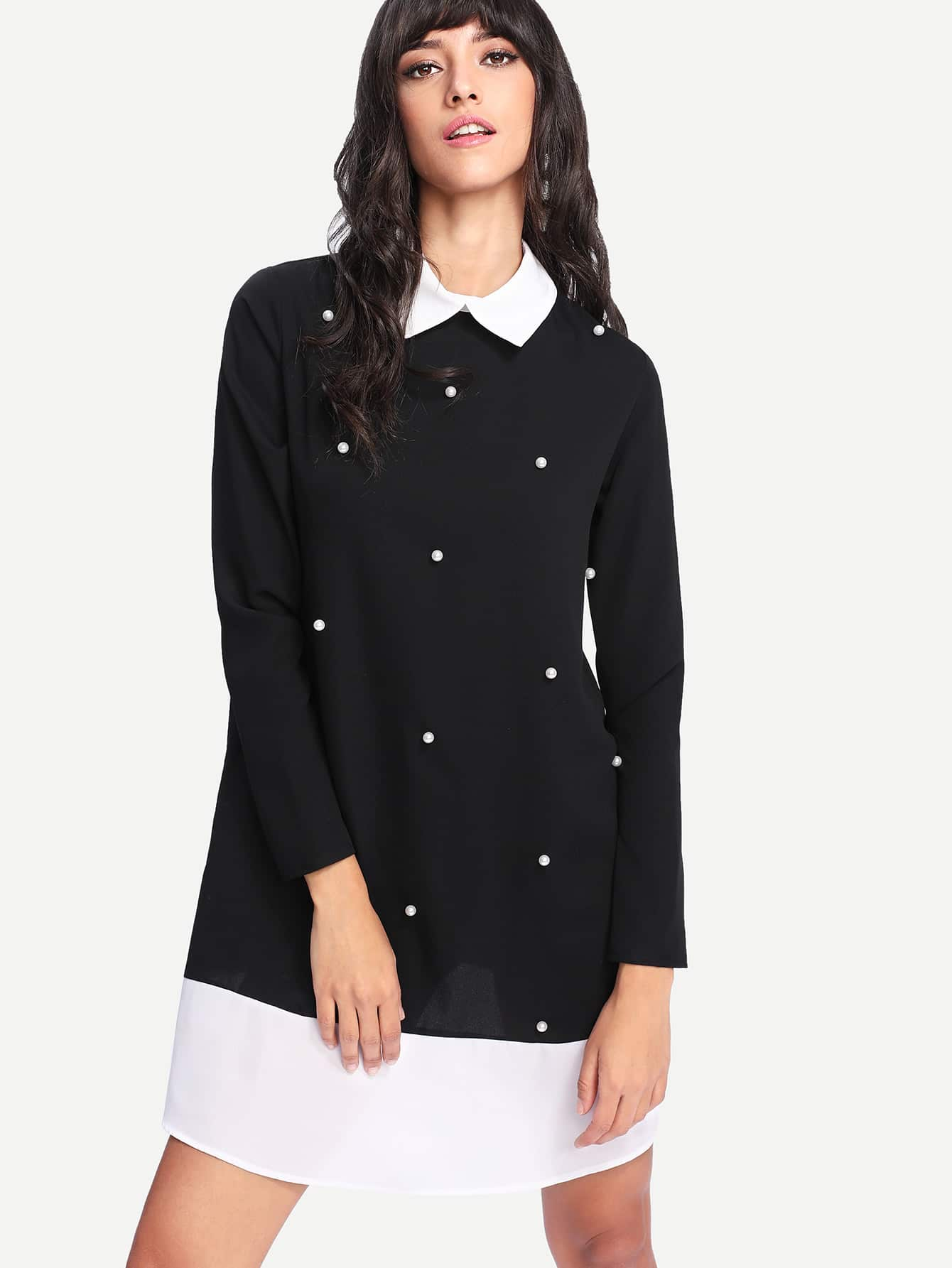 Contrast Collar And Hem Pearl Detail Dress pearl and layered lace detail pullover