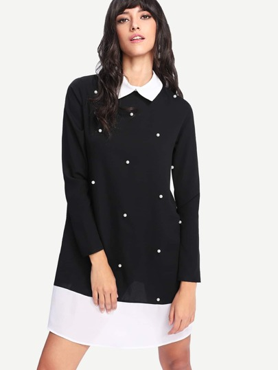 Contrast Collar And Hem Pearl Detail Dress