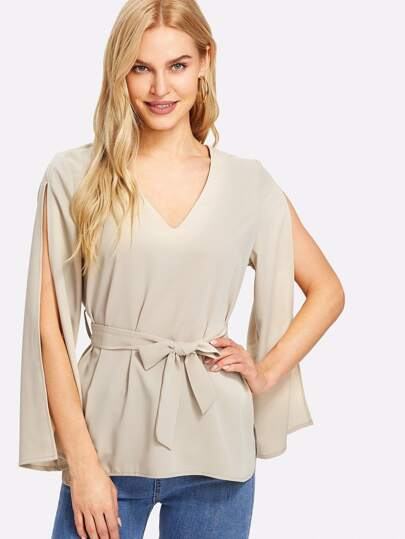 Split Sleeve Self Belt Solid Top