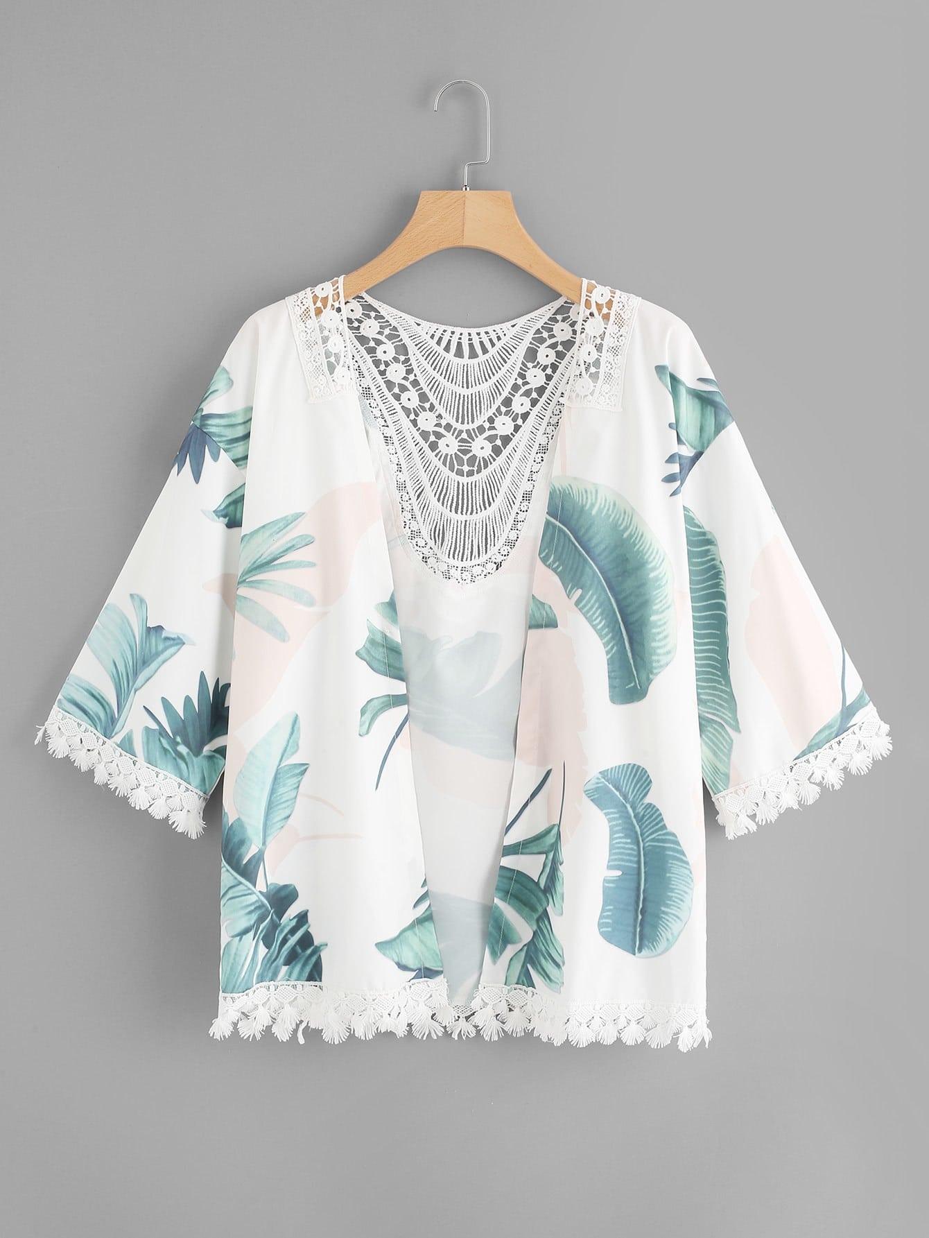 Contrast Lace Foliage Print Kimono