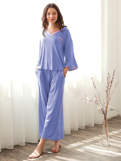 Contrast Trim Tee & Pants Pajama Set