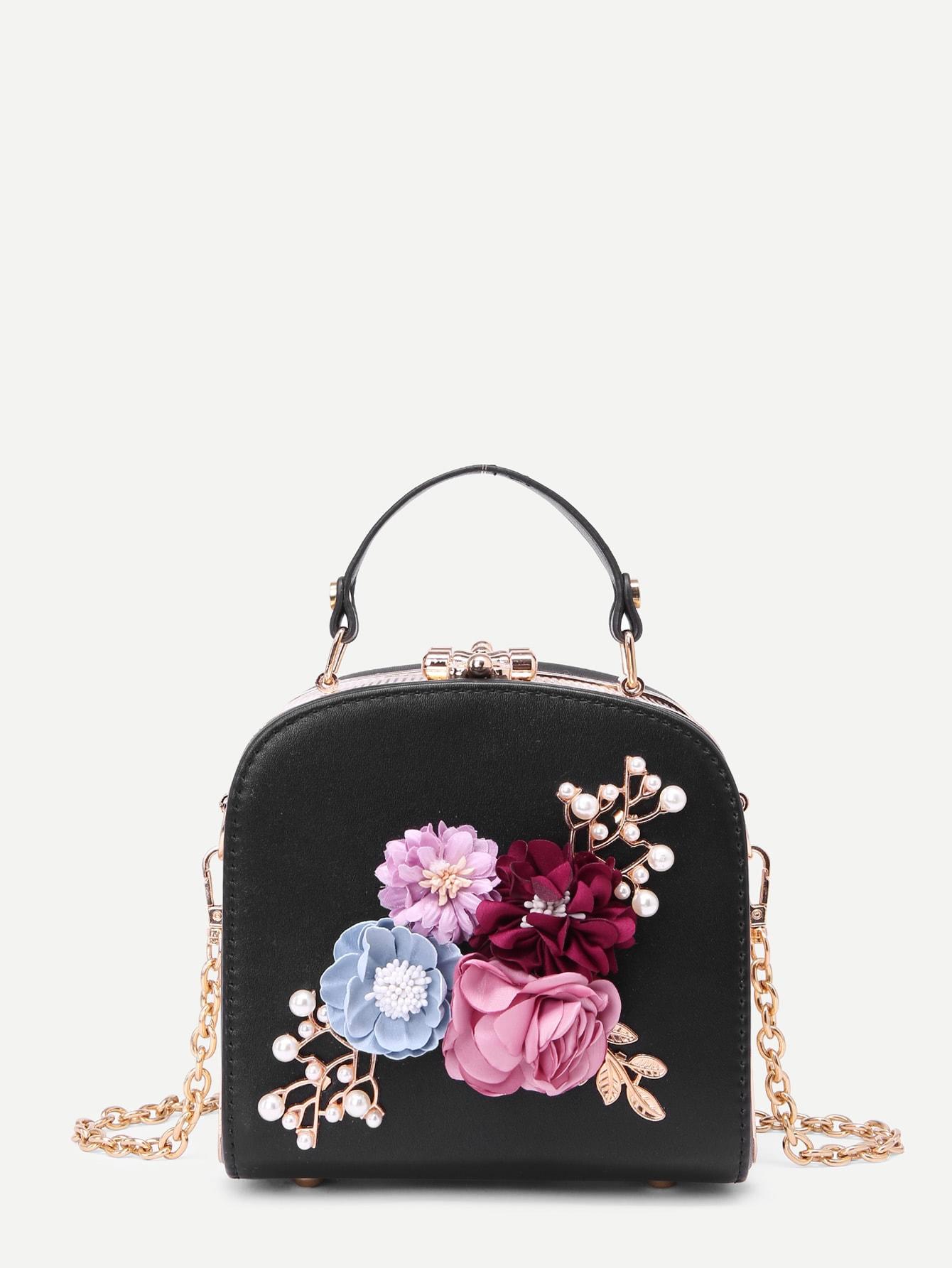 3D Flower Faux Pearl Detail Shoulder Bag faux pearl detail dress