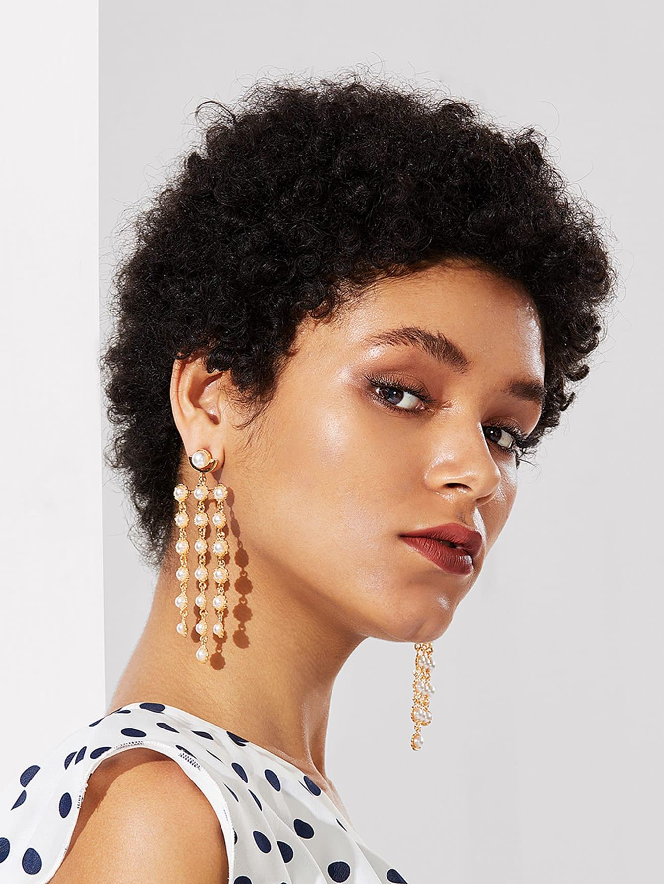 Faux Pearl Decorated Drop Earrings faux pearl drop shoulder dress