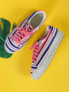 Espadrille Trim Striped Flatform Sneakers CORAL